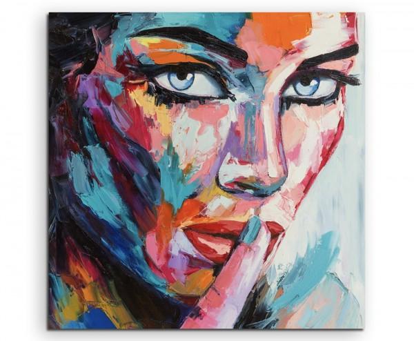 Buntes modernes Ölgemälde – Frau mit blauen Augen auf Leinwand exklusives Wandbild (Leinwanddruck)