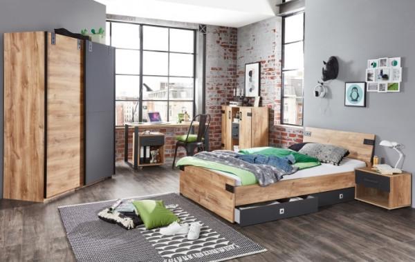 Jugendzimmer Liverpool in Plankeneiche mit Absetzungen in Graphit 7 teiliges Megaset mit Schrank, Be