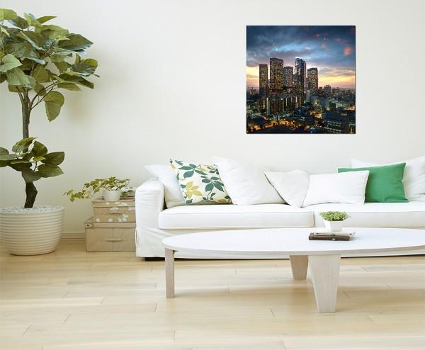 80x80cm Los Angeles Skyline Sonnenuntergang