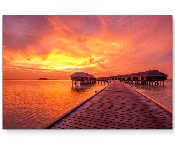 Sonnenuntergang am Strand – Malediven - Leinwandbild