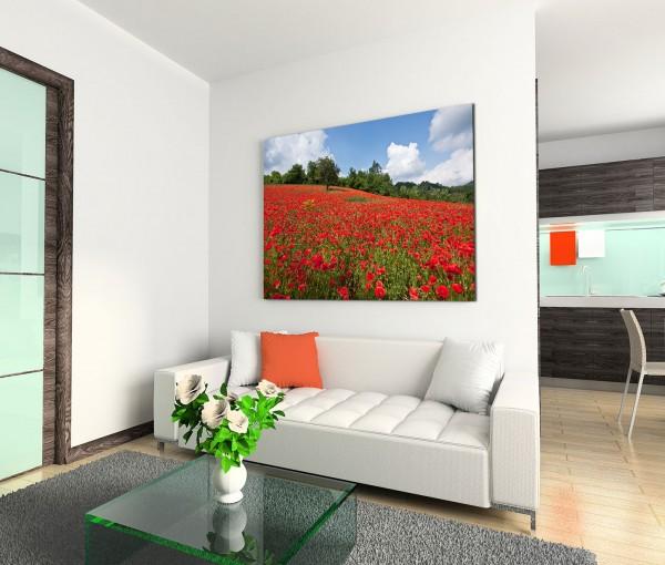120x80cm Wandbild Mohnblumen Feld Bäume Sonne Himmel