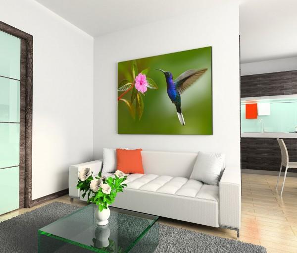 120x80cm Wandbild Kolibri Blume Nahaufnahme