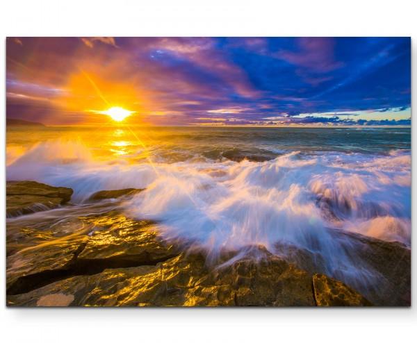 Sonnenuntergang an der Nordküste von Oahu, Hawai - Leinwandbild
