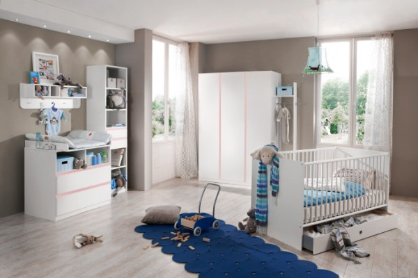 Babyzimmer Bibi 3-teilig Weiß-Rosé