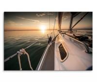120x80cm Wandbild Meer Segelyacht Sonnenaufgang