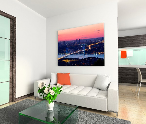 120x80cm Wandbild Istanbul Bosporus Brücke Abendlicht
