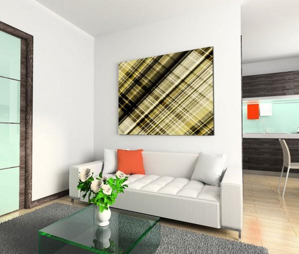 120x80cm Wandbild Hintergrund abstrakt kariert gelb grün schwarz weiß