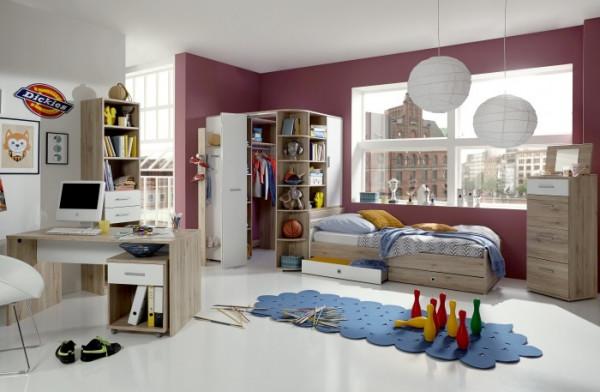 Jugendzimmer Joker in Eiche San Remo und Weiß 8 teiliges Megaset mit Eckkleiderschrank und Garderobe
