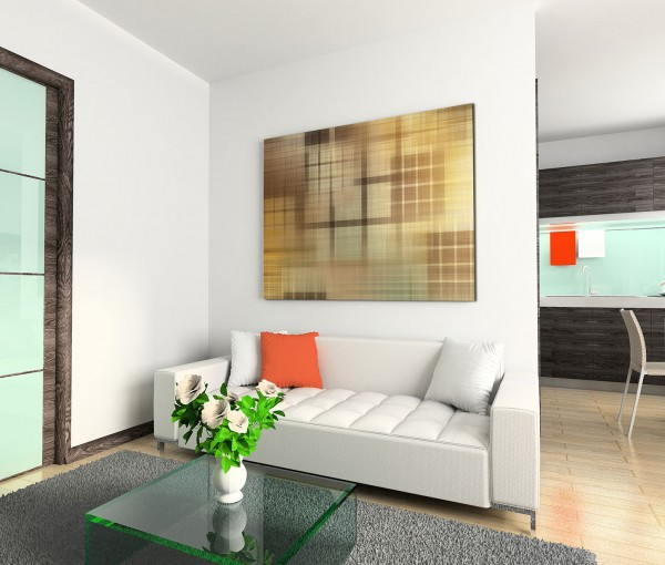 120x80cm Wandbild Hintergrund abstrakt Geometrie braun grau creme