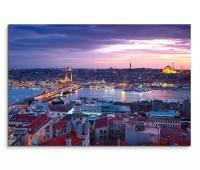 120x80cm Wandbild Istanbul Bosporus Häuser Sonnenuntergang