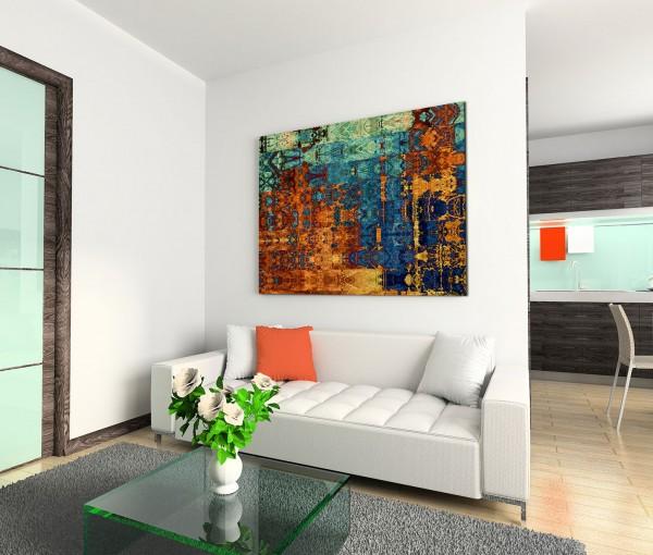 120x80cm Wandbild Hintergrund Kunst abstrakt braun blau grün gelb