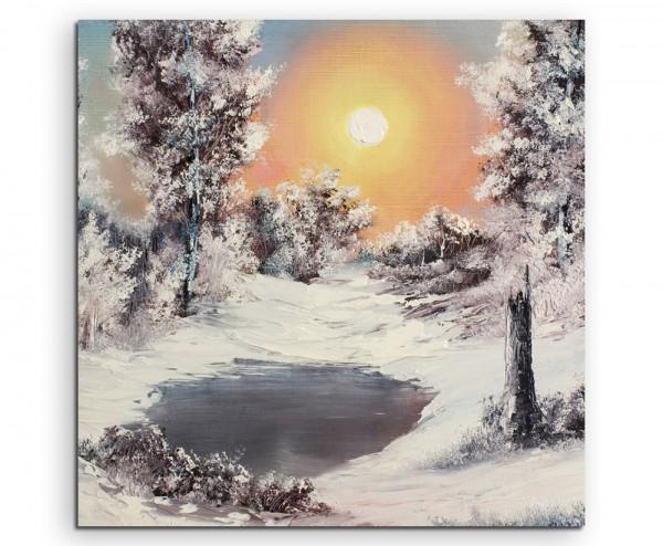 Malerische Winterlandschaft am See auf Leinwand