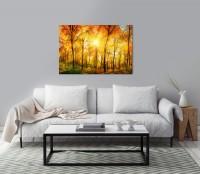 Waldpanorama mit Sonne Tag im Herbst Wandbild in verschiedenen Größen