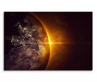 120x80cm Wandbild Planet Erde Weltraum Sonnenaufgang