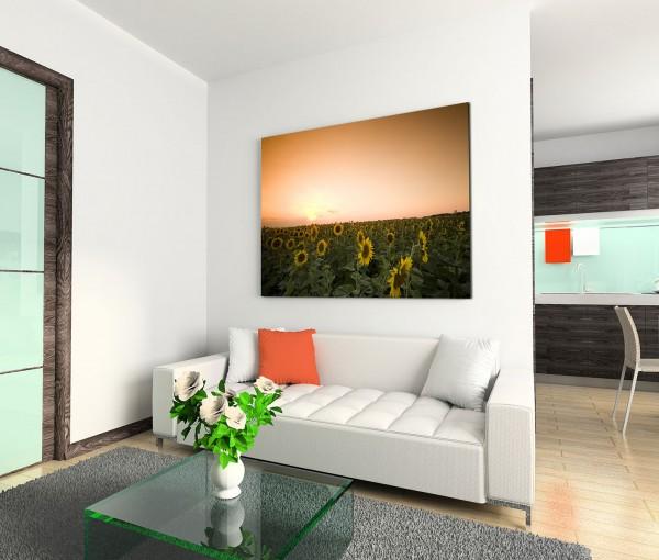 120x80cm Wandbild Sonnenblumen Feld Sommer
