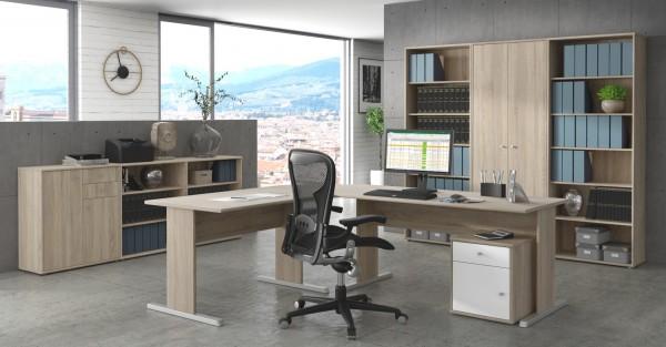 Büromöbel Tempra 2 von Forte 8 teiliges Megaset mit Winkelschreibtisch, Rollcontainer, Regalwand mit großem Schrank und zwei großen Regalen, Flachstrecke mit zwei Regalen und einer Kommode