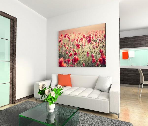 120x80cm Wandbild Mohnblumen Wiese Feld Sommer