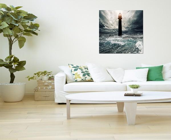 120x80cm Meer Wellen Sturm Leuchtturm