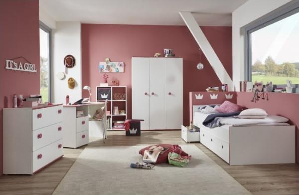 Jugendzimmer Mia in Weiß mit pinkfarbigen Kanten und Türgriffen 5 teiliges Komplett Set mit Schrank,