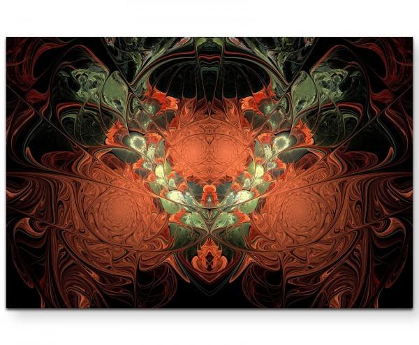 abstraktes Design – oliv + orange, rankenartig - Leinwandbild