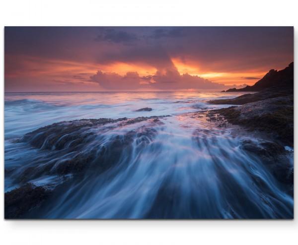 Meereswellen und Abendstimmung - Leinwandbild