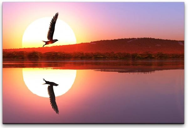 Adler in einer Seen Landschaft Wandbild in verschiedenen Größen