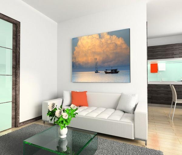 120x80cm Wandbild Thailand Meer Boote Wolken