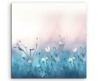 Naturfotografie – Wiese mit weißen Blumen auf Leinwand exklusives Wandbild moderne Fotografie für ih