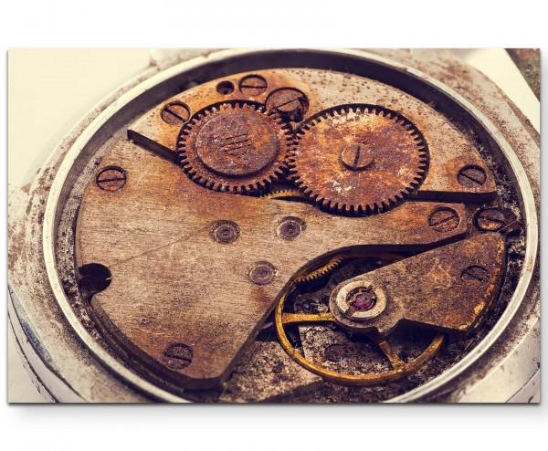 Altes Uhrwerk – Detailaufnahme - Leinwandbild