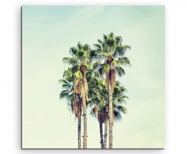 Vintage Palmen in Los Angeles auf Leinwand exklusives Wandbild moderne Fotografie für ihre Wand in v
