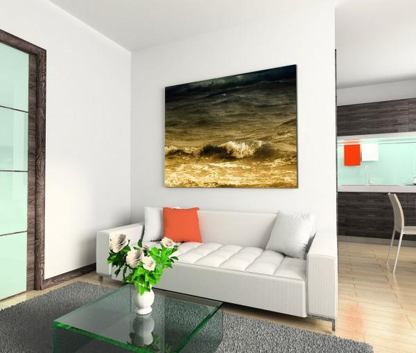 120x80cm Wandbild Ozean Wellen Sturm Wolkenhimmel