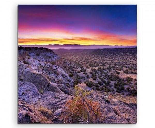 Landschaftsfotografie – Sonnenaufgang, Bandelier National Monument auf Leinwand