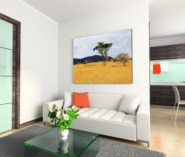 120x80cm Wandbild Kenia Savanne Akazien Gras