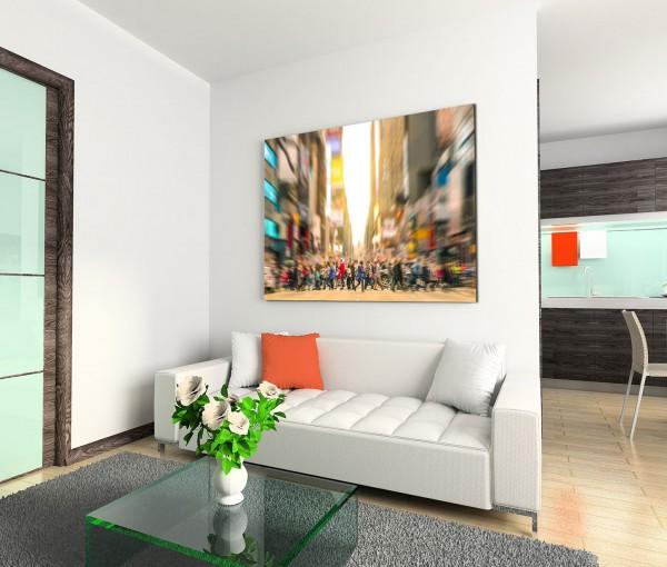 120x80cm Wandbild Manhattan 7th Avenue Zebrastreifen Fußgänger Gebäude