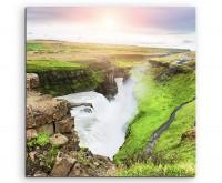 Landschaftsfotografie – Isländischer Wasserfall auf Leinwand exklusives Wandbild moderne Fotografie