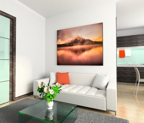 120x80cm Wandbild Fuji Vulkan See Spiegelung