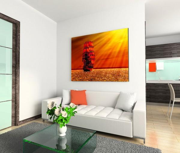 120x80cm Wandbild Meer Segelboot Sonnenuntergang