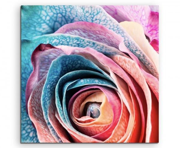 Künstlerische Fotografie – Blau eingefärbte Rose auf Leinwand