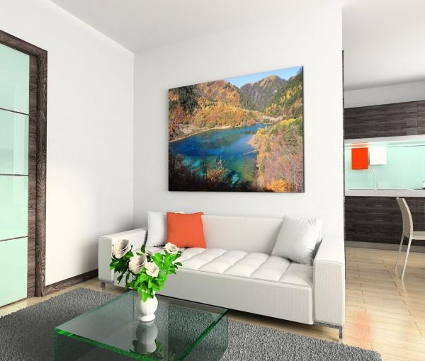 120x80cm Wandbild China Berge Wald See Landschaft