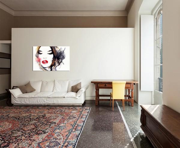 120x80cm Handmalerei Frau Mädchen Gesicht Gemälde