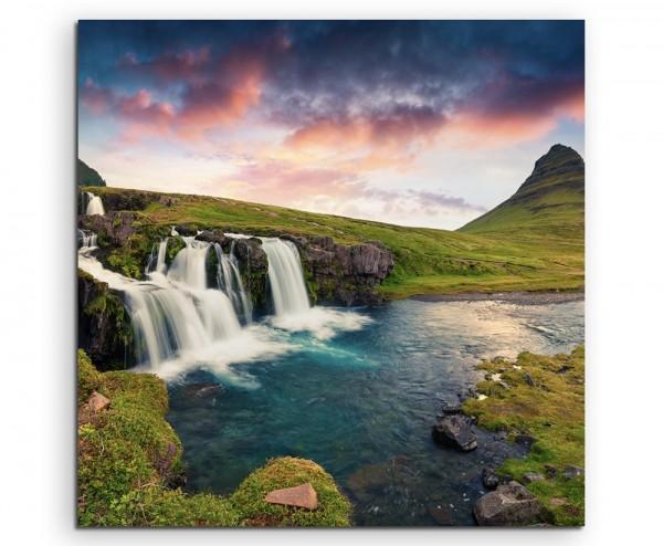 Landschaftsfotografie – Sonnenaufgang am Kirkjufell Berg, Island auf Leinwand