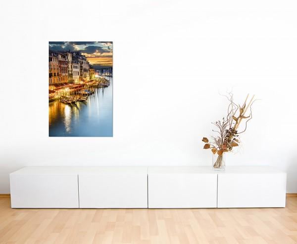 120x60cm Venedig Wasserkanal Boote Häuser Himmel