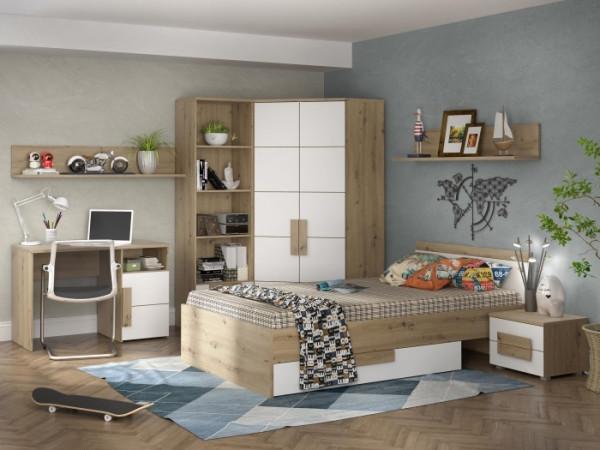 """Jugendzimmer Libelle """"Arkina"""" in Artisan Oak und Weiß 8 teiliges Superset mit 2türigem Eckkleidersch"""