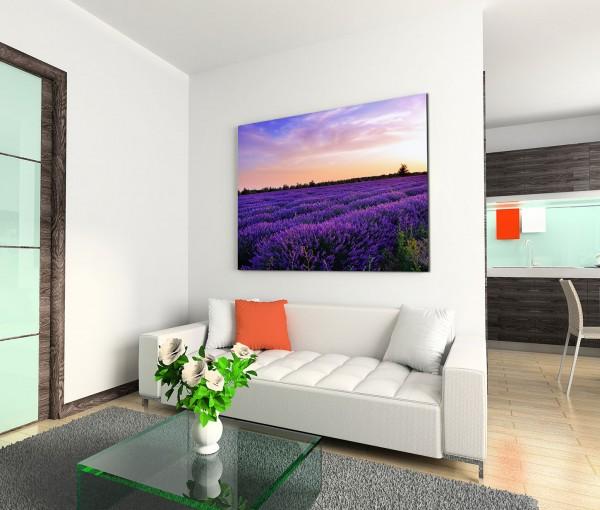120x80cm Wandbild Provence Lavendelfeld Sommer Abendlicht