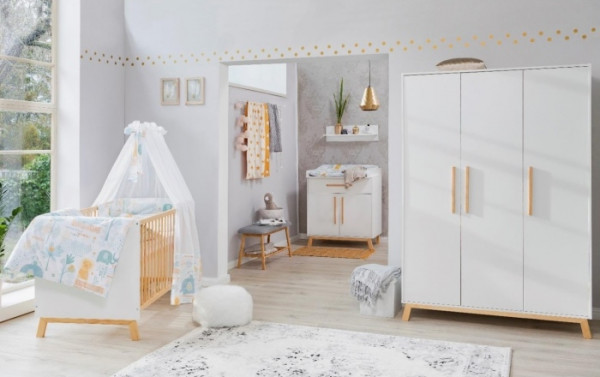 Babyzimmer Venice in Weiß und Buche Teilmassiv von SCHARTD 6 teilig +++ von möbel-direkt+++ schnell und günstig