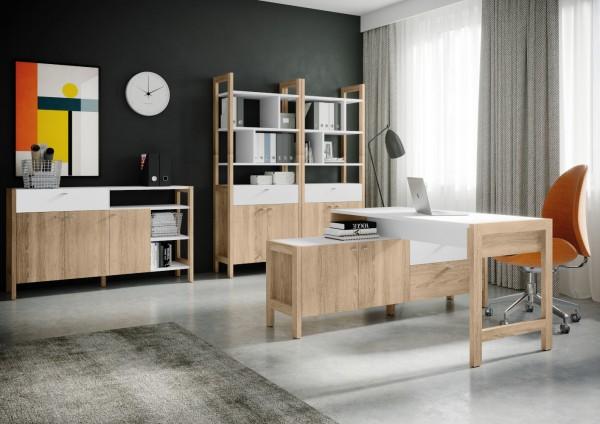Büromöbel Hoyvik 4 Teile von Forte in Eiche Sonoma und Weiß mit praktischem Schreibtisch, Aktenschränken und Aktenregalen