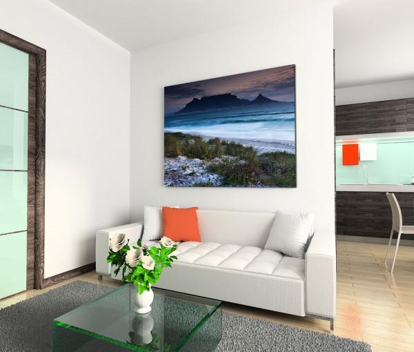 120x80cm Wandbild Kapstadt Strand Meer Morgengrauen