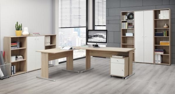 Büromöbel Tempra in Eiche Sonoma- Weiß 8teiliges Superset mit Winkelschreibtisch, Rollcontainer, Reg