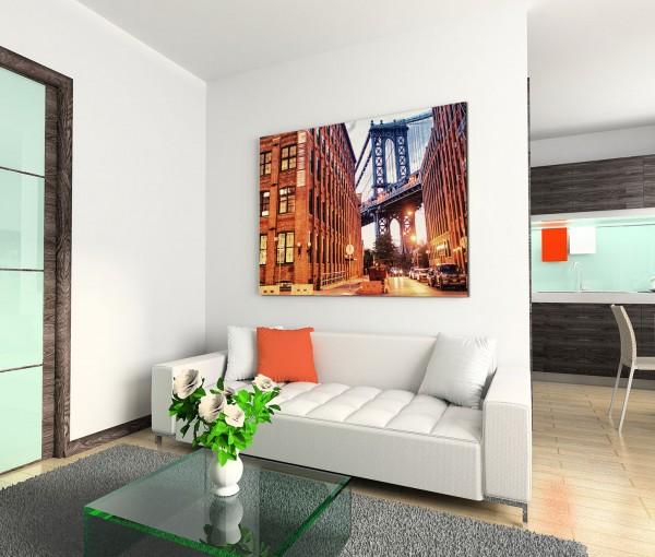 120x80cm Wandbild Manhattan Brooklyn Bridge Gebäude Wolken