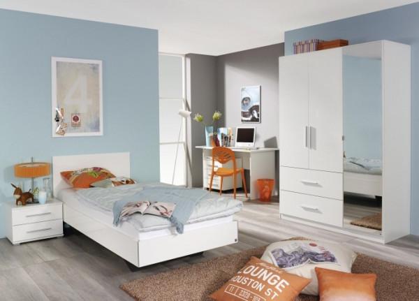 Jugendzimmer Manja in Weiß Hochglanz von Rauch Möbel 5 teiliges Superset mit Schrank, Jugendbett, Sc